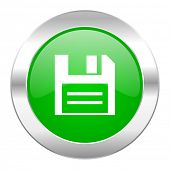 disk green circle chrome web icon isolated