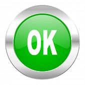 ok green circle chrome web icon isolated