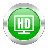 hd display green circle chrome web icon isolated