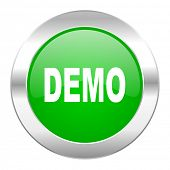 demo green circle chrome web icon isolated