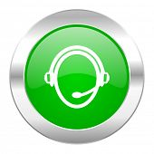 customer service green circle chrome web icon isolated