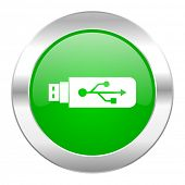 usb green circle chrome web icon isolated