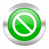 access denied green circle chrome web icon isolated