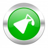 chemistry green circle chrome web icon isolated