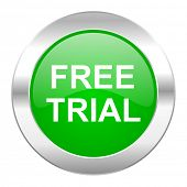 free trial green circle chrome web icon isolated