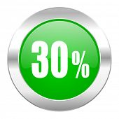30 percent green circle chrome web icon isolated