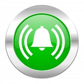 alarm green circle chrome web icon isolated