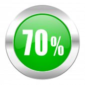 70 percent green circle chrome web icon isolated