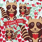 Lovely Cartoon Seamless Background Pink Heart, Raccoon, Love.