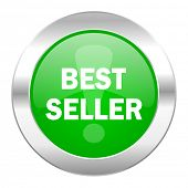 best seller green circle chrome web icon isolated