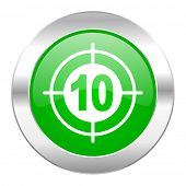target green circle chrome web icon isolated