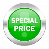 special price green circle chrome web icon isolated