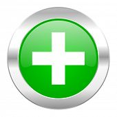 plus green circle chrome web icon isolated