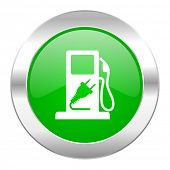 fuel green circle chrome web icon isolated