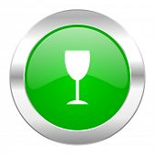 alcohol  green circle chrome web icon isolated