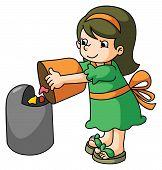 Girl throws the trash
