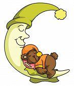 Teddy bear and Moon sleep