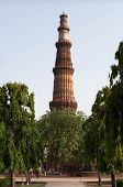 Qutb Minar Tower Among Trees, Delhi, India