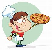 foto of pizza parlor  - Smiling Boy Chef Showing A Delicious Pizza - JPG
