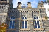 Gothic windows of historic building at Georgetown University.