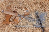Wood Shavings And Handtools For Woodworking