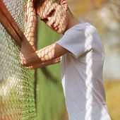 Fashion Summer Portrait Handsome Man Model With Strong Confident Look In Sunny Day