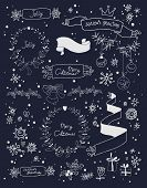 Christmas design elements set on blackboard. EPS 10.  No gradients.