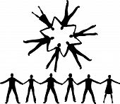stock photo of holding hands  - people together silhouette vector - JPG