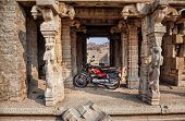 Motorbike Parked In Old Hampi Temple
