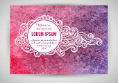 Watercolor background with decorative elements and place for your text.