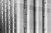 picture of bannister  - Black and white image of chemical storage tanks - JPG