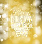 Vector vintage retro christmas label on golden blurred background