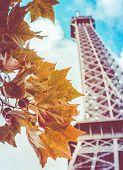 Retro Eiffel Tower In The Fall