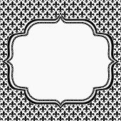 Black And White Fleur De Lis Pattern Textured Fabric With Embroidery Background