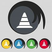 road cone icon. Set colourful buttons. Vector