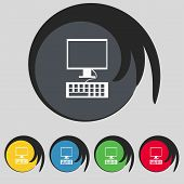 Computer monitor and keyboard Icon. Set colourful buttons. Vector