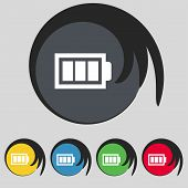 Battery fully charged sign icon. Electricity symbol. Set of colour buttons. Modern interface website