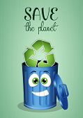 stock photo of garbage bin  - illustration of Blue garbage bin for recycle - JPG