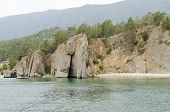 Rocky shore of Lake Baikal