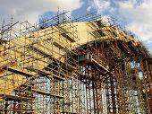 stock photo of trestle bridge  - bridge under construction - JPG