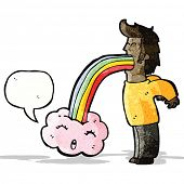 foto of vomit  - man vomiting out rainbow cartoon - JPG