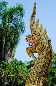 The Gold Naga In Thai Temple