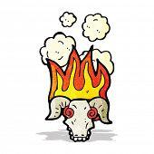 flaming ram skull cartoon
