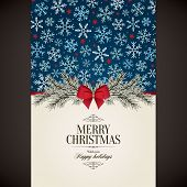 Christmas and New Year. Vector greeting card poster