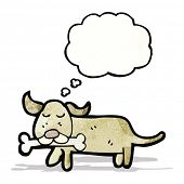 dog with thought bubble cartoon