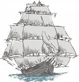 stock photo of tall ship  - old sailboat looks a caravel or similar - JPG