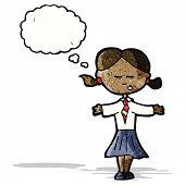 cartoon clever school girl