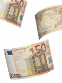 Fifty Euro Bill Collage Isolated On White