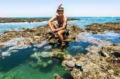 Man In The Mask For Posing Against The Backdrop Of The Beautiful Sea Landscape And Corall Reef