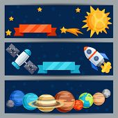 Horizontal banners with solar system and planets.